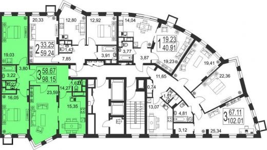 3-комнатная квартира № 176