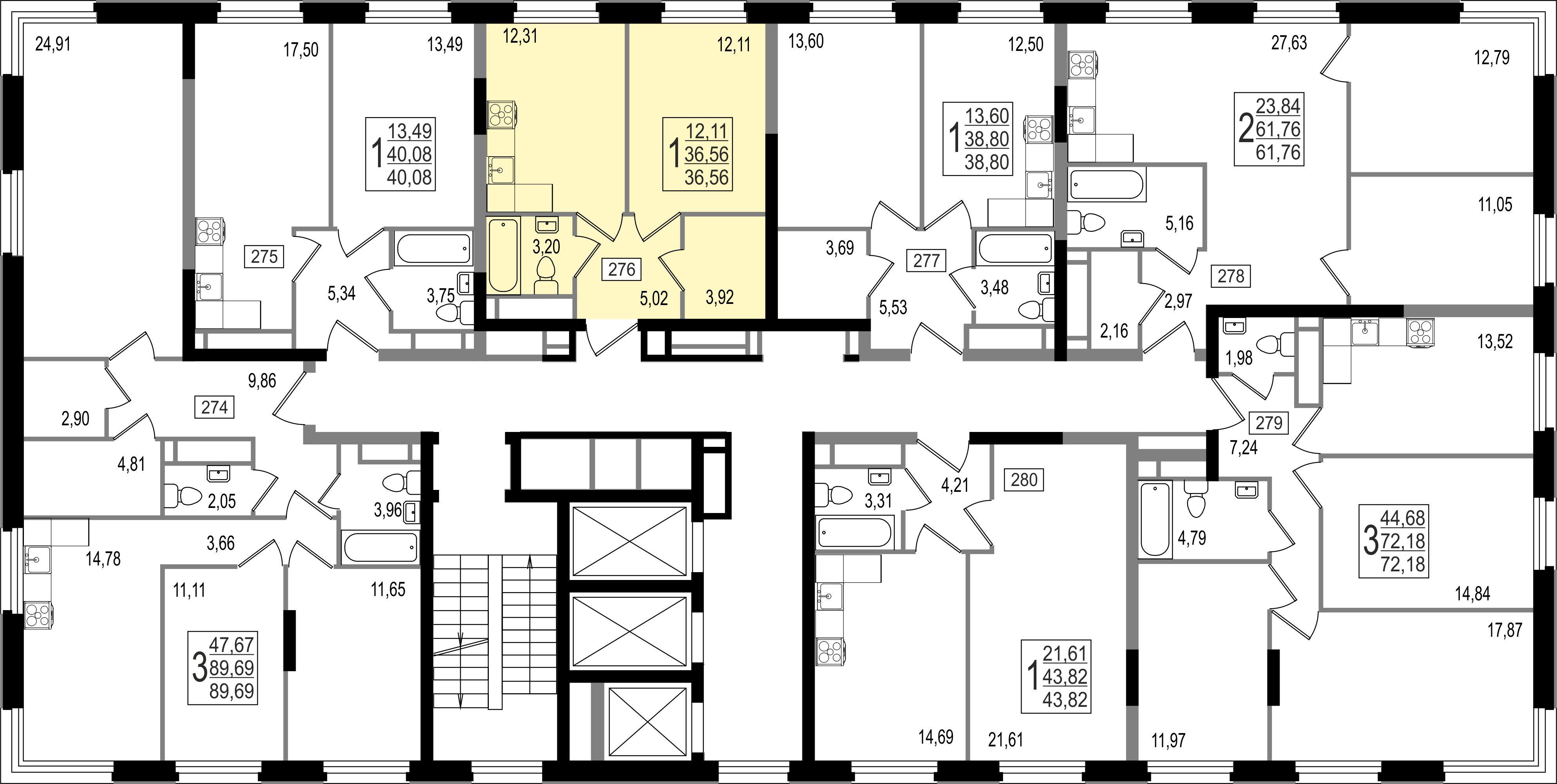 1-комнатная квартира, №102