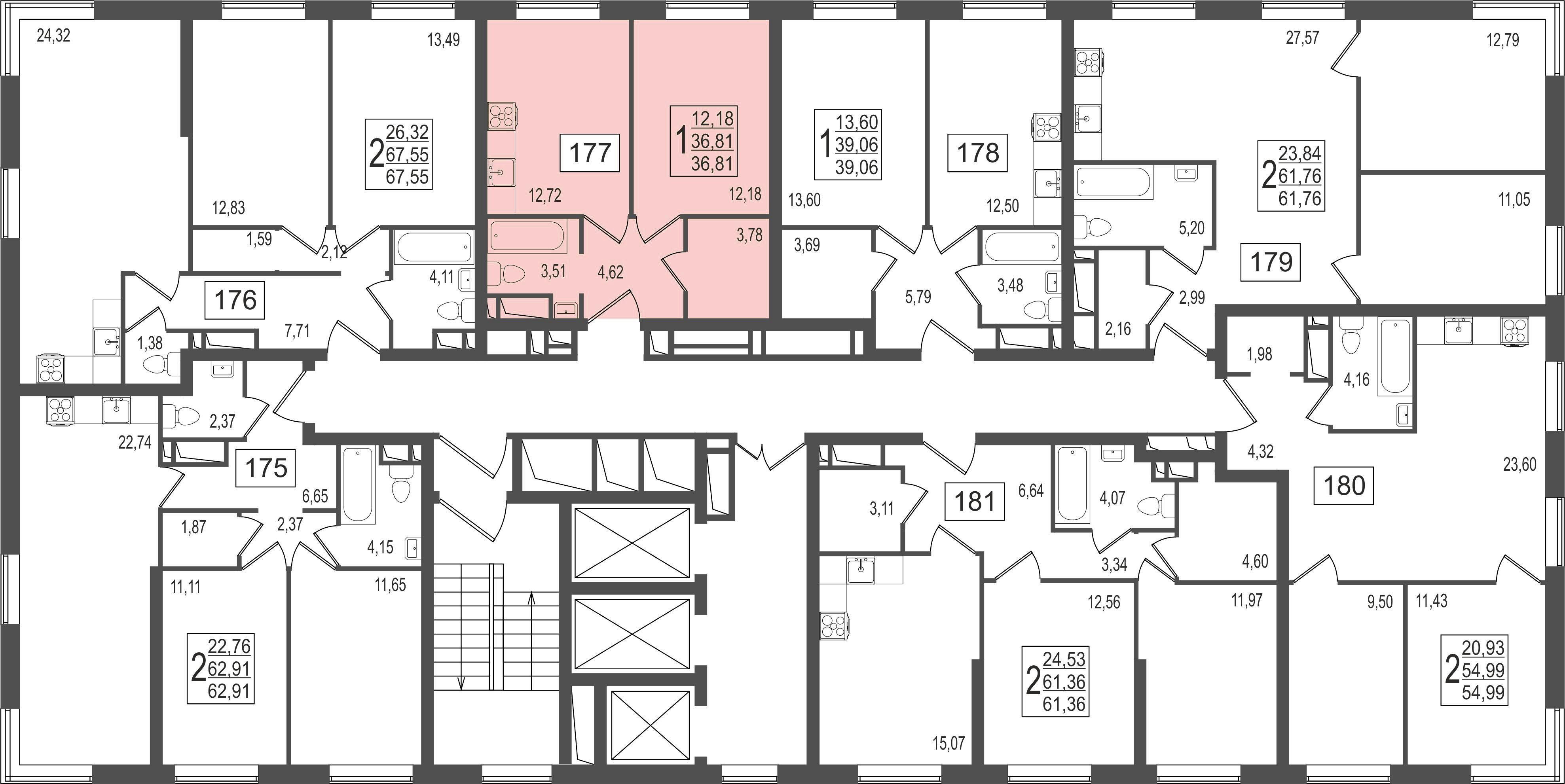 1-комнатная квартира, №3