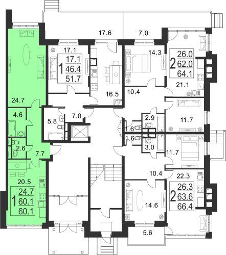 2-комнатная квартира, 60,1 м² за 4,90 млн руб.