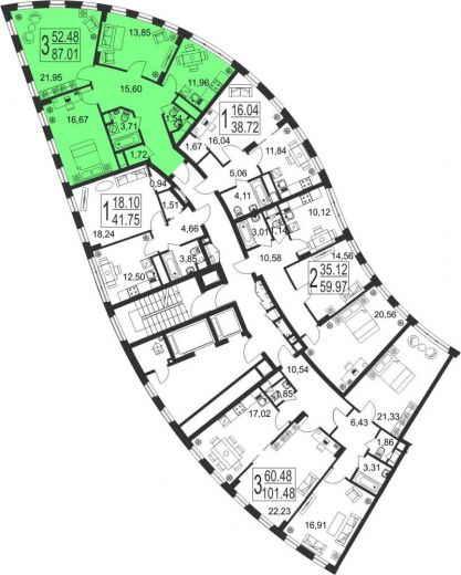 3-комнатная квартира № 2