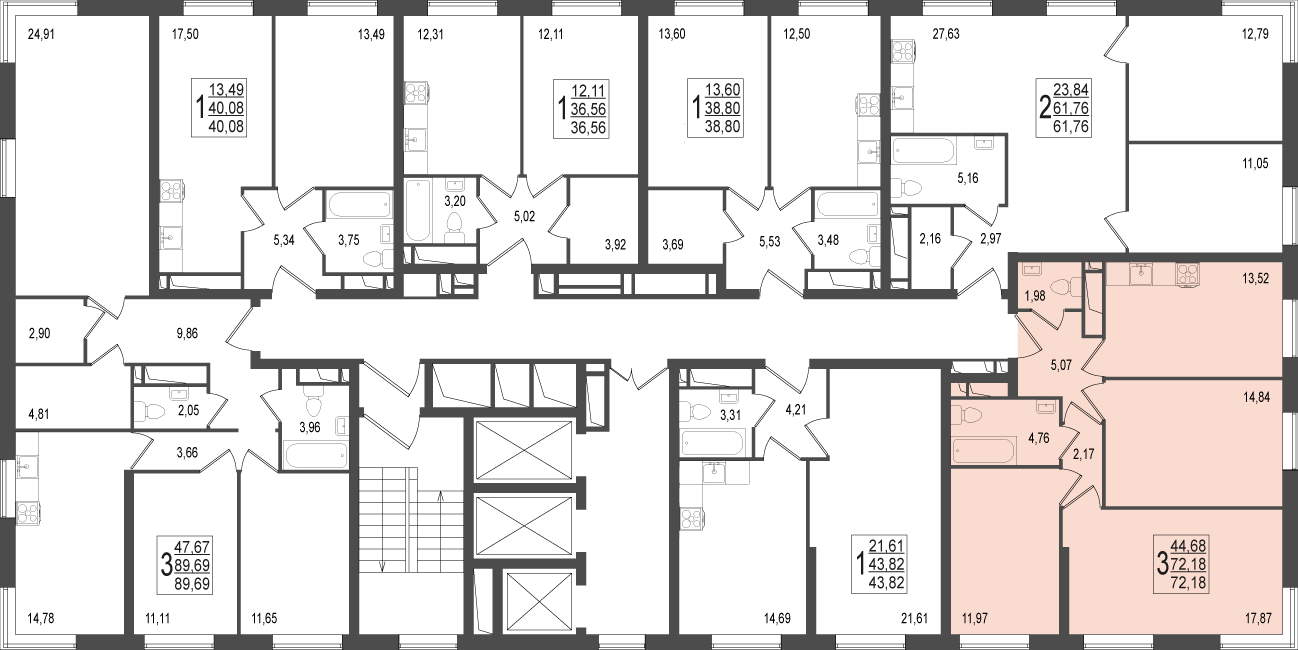3-комнатная квартира, №84
