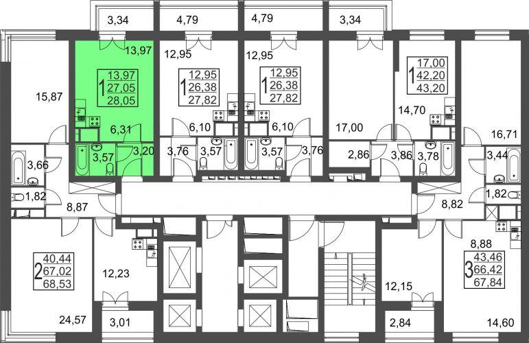 Квартира-студия, 28,1 м² за 2,94 млн руб.