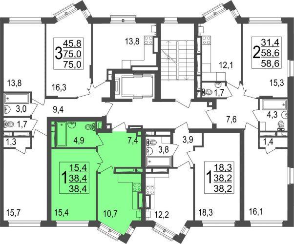 1-комнатная квартира, 38,4 м² за 3,38 млн руб.