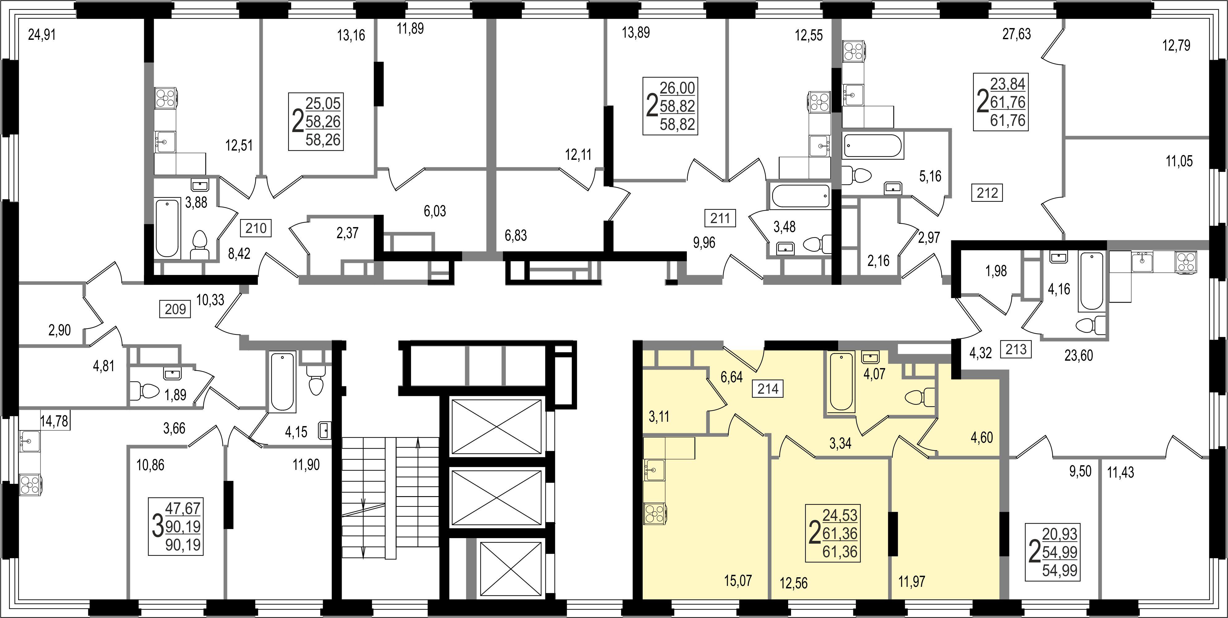 2-комнатная квартира, №40