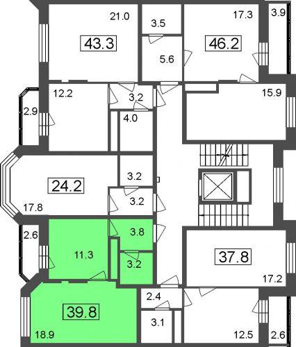 1-комнатные апартаменты, 37,3 м² за 2,95 млн руб.
