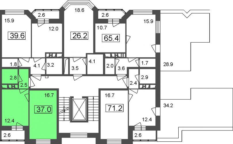 1-комнатные апартаменты, 34,4 м² за 2,77 млн руб.