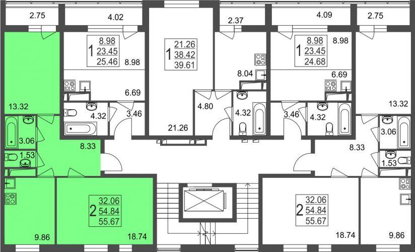 2-комнатная квартира, 55,7 м² за 3,73 млн руб.