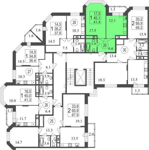 1-комнатная квартира, 41,4 м² за 4,13 млн руб.