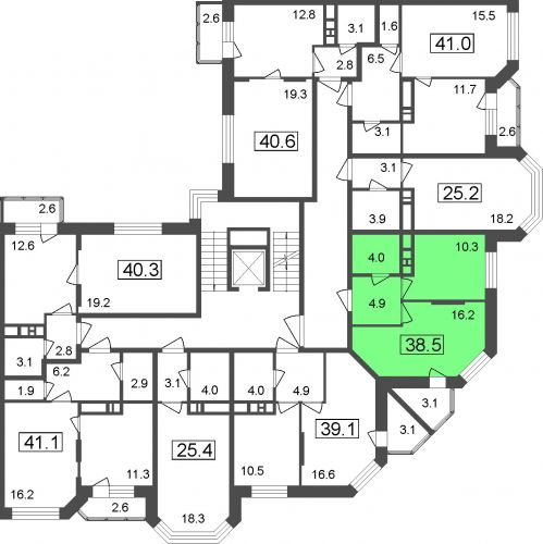 1-комнатные апартаменты, 35,4 м² за 2,73 млн руб.