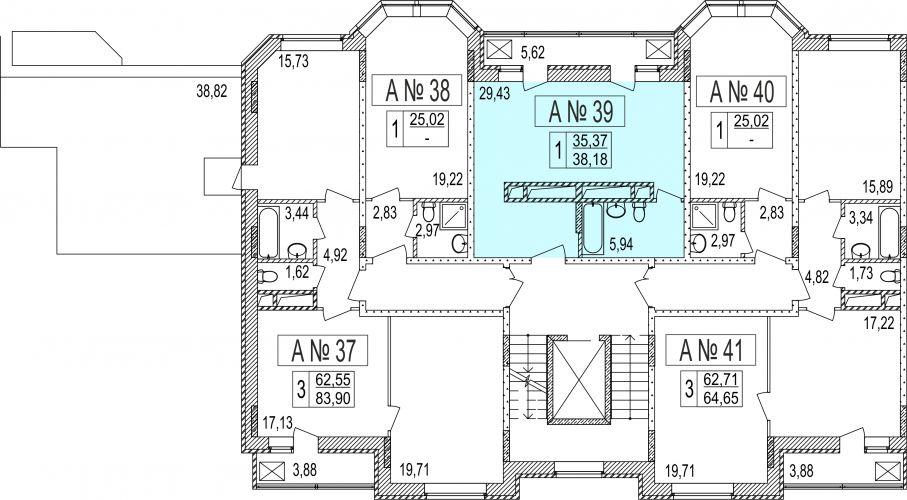 1-комнатные апартаменты, 35,0 м² за 3,13 млн руб. в ЖК «Мытищи Lite» - расположение в секции
