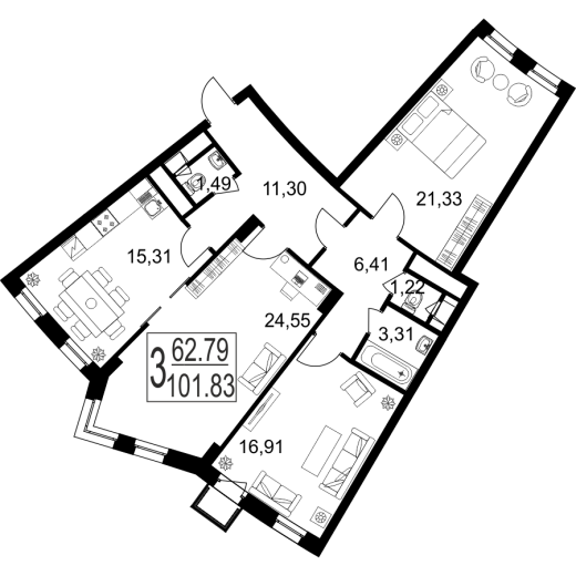 3-комнатная квартира № 25