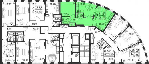 2-комнатная квартира № 138