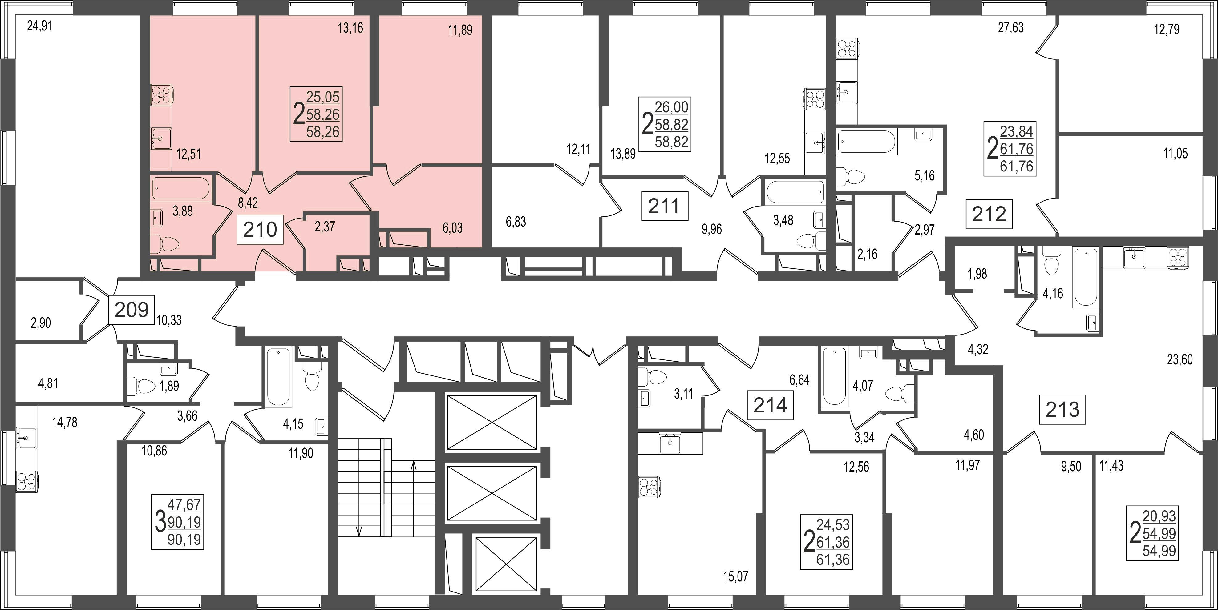 2-комнатная квартира, №36