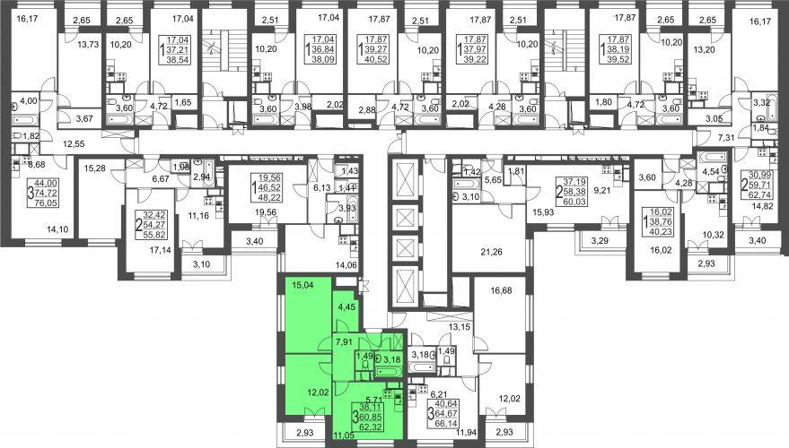 3-комнатная квартира, 62,3 м² за 5,48 млн руб.