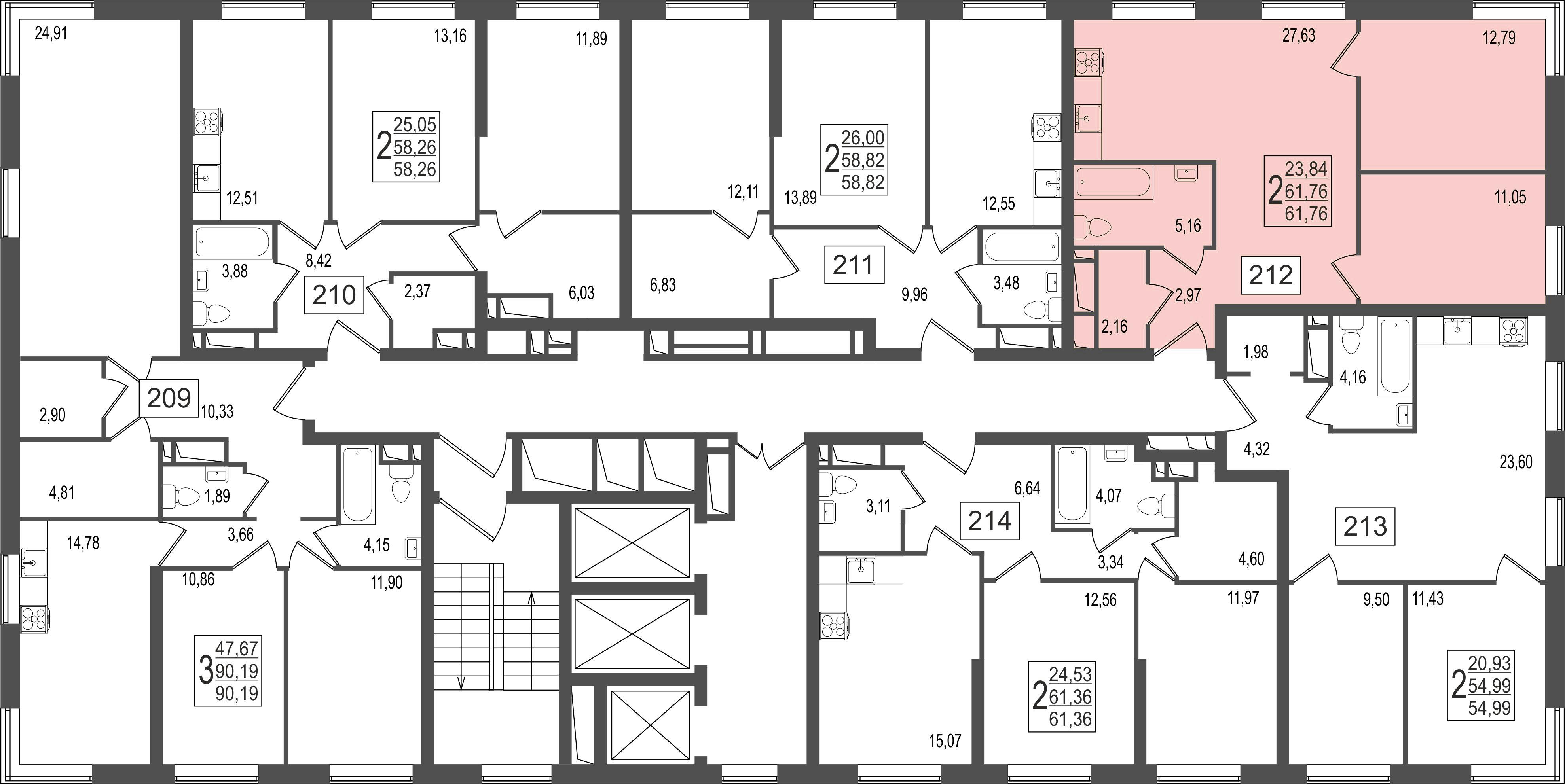 2-комнатная квартира, №38