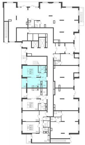 1-комнатная квартира, 35,7 м² за 2,76 млн руб.