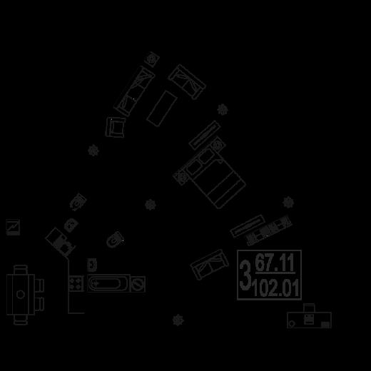 3-комнатная квартира № 147