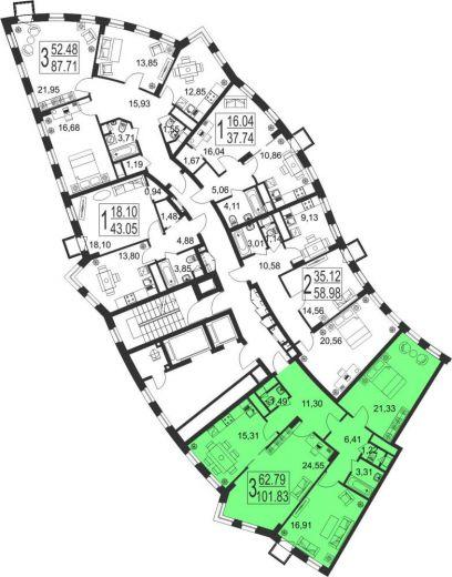 3-комнатная квартира № 70