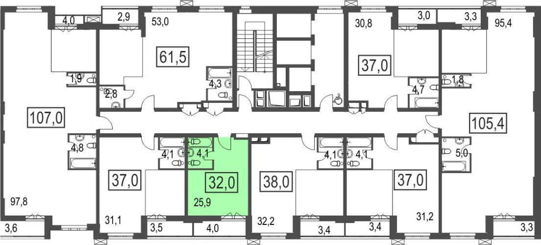 1-комнатная квартира, 32,0 м² за 3,78 млн руб.