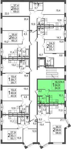 1-комнатная квартира, 34,9 м² за 3,07 млн руб.