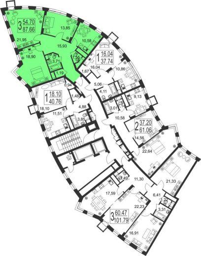 3-комнатная квартира № 37