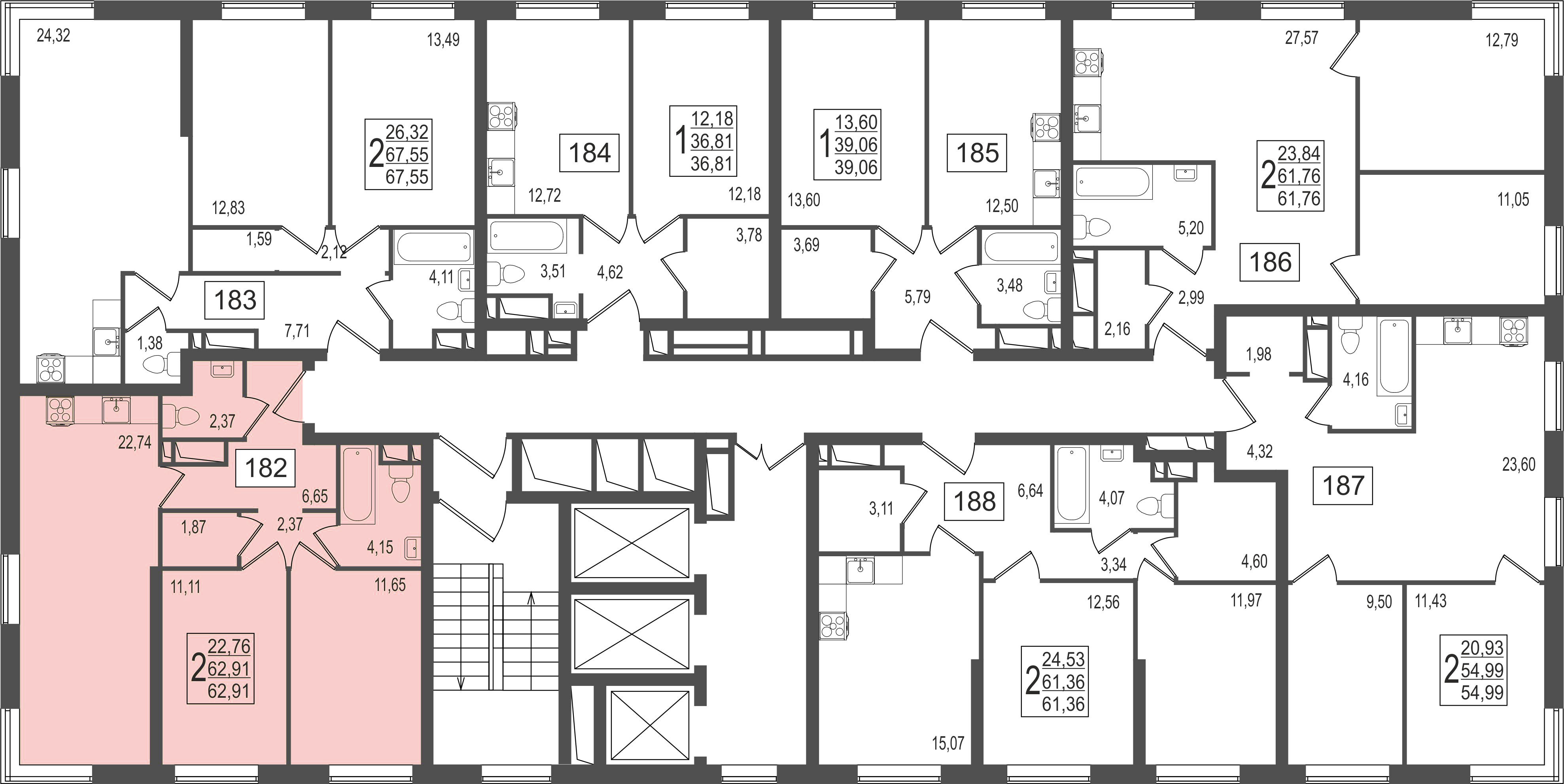 2-комнатная квартира, №8