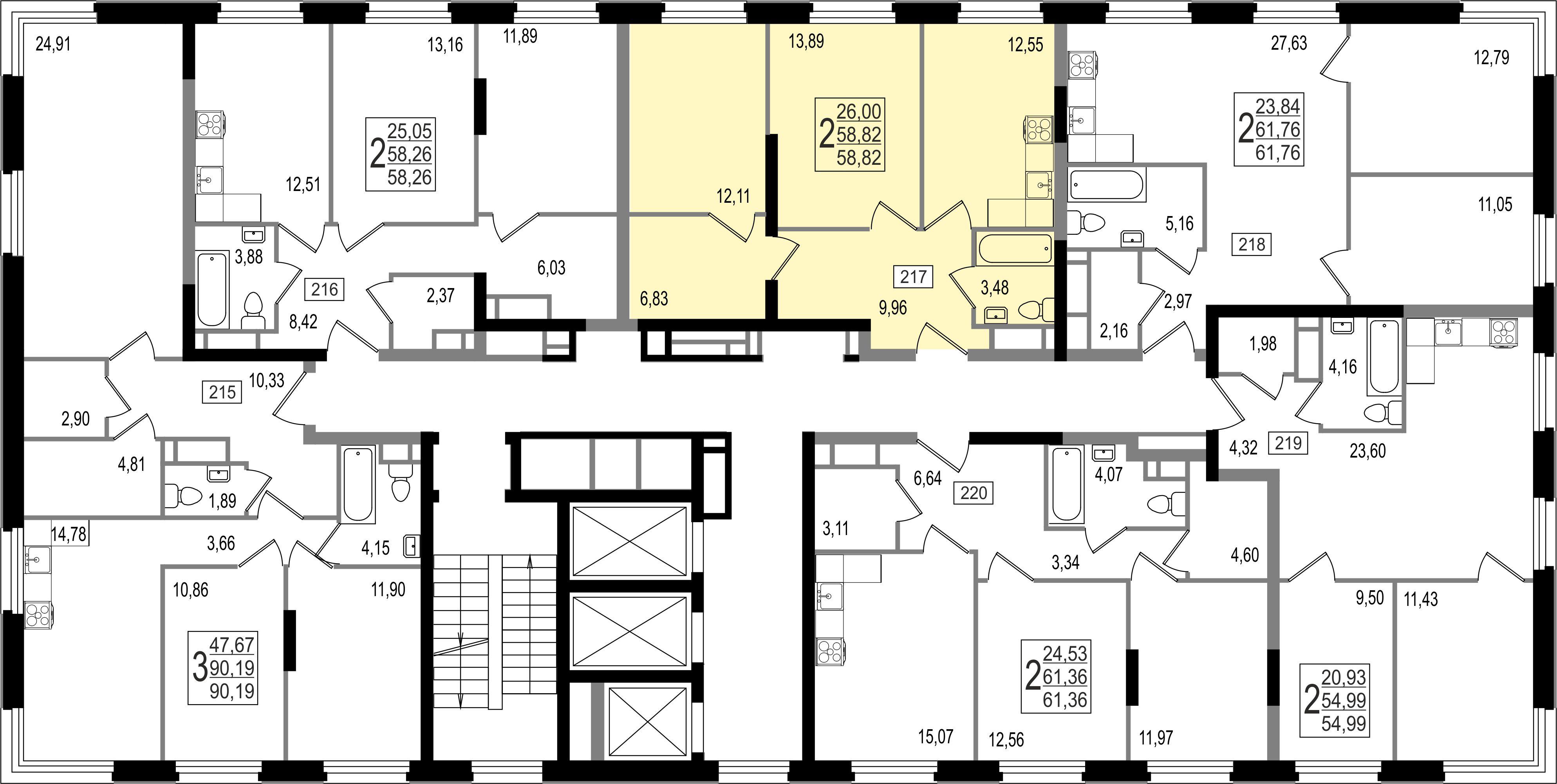 2-комнатная квартира, №43