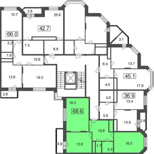 1-комнатные апартаменты, 34,1 м² за 2,69 млн руб.