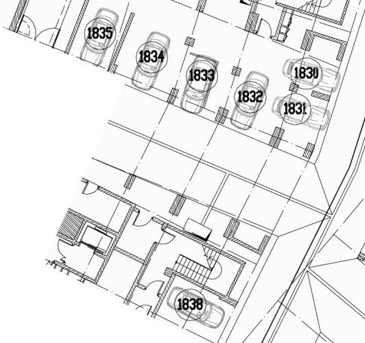 Машиноместо № 1837 в 2 корпусе ЖК «Мосфильмовский» в ЖК «Мосфильмовский» - расположение в секции