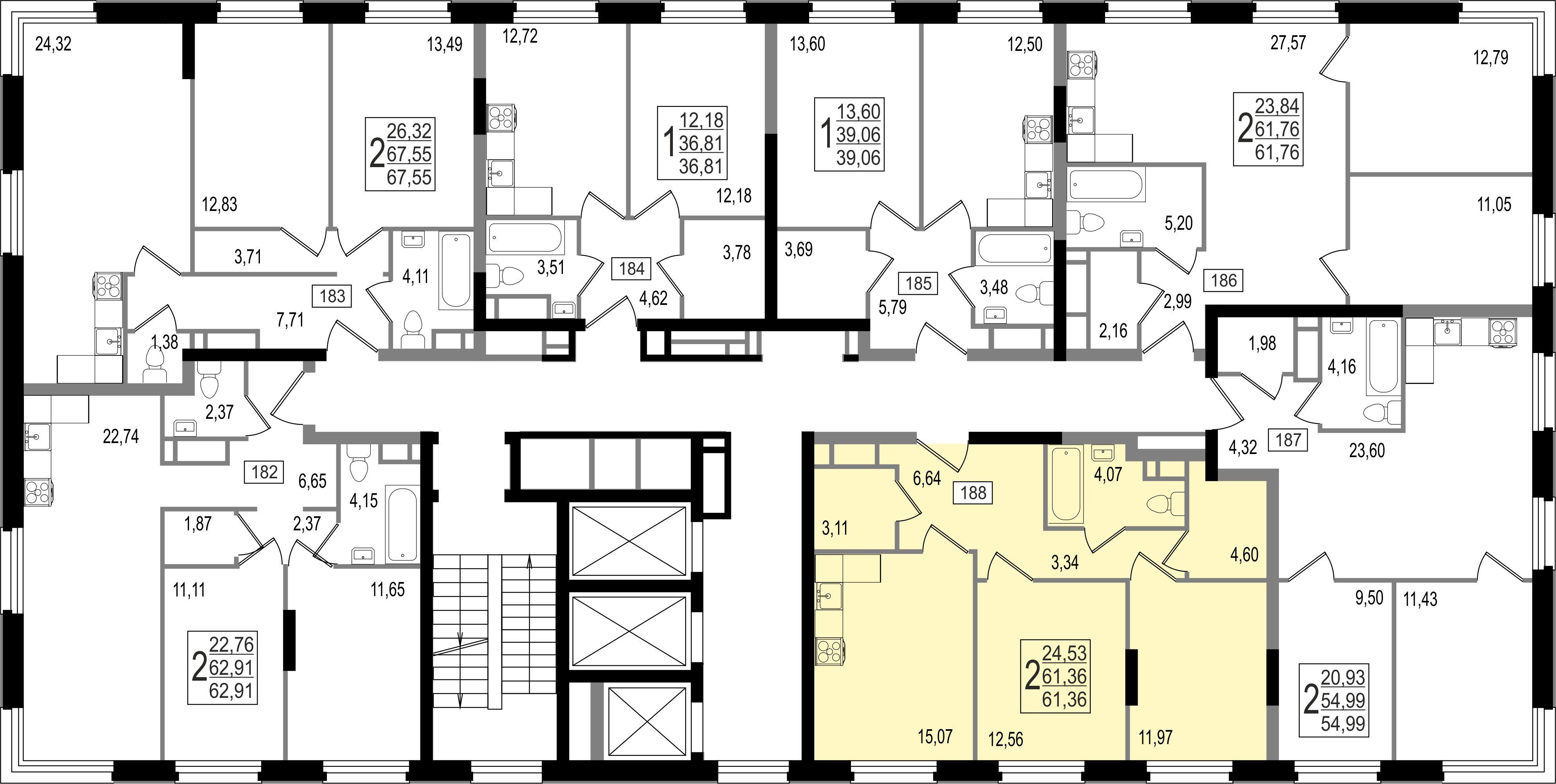2-комнатная квартира, №14