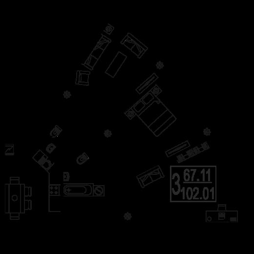 3-комнатная квартира № 151