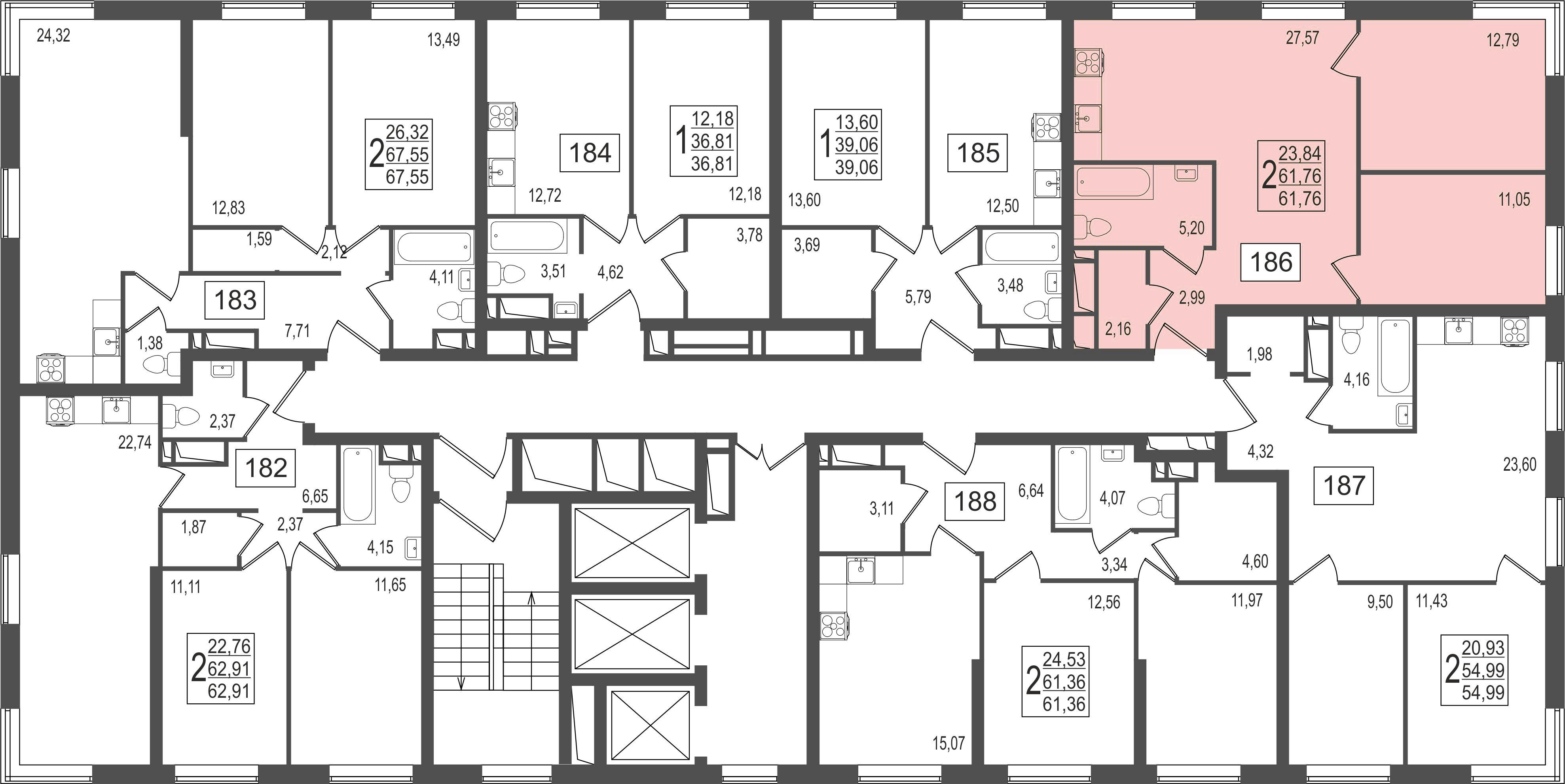 2-комнатная квартира, №12