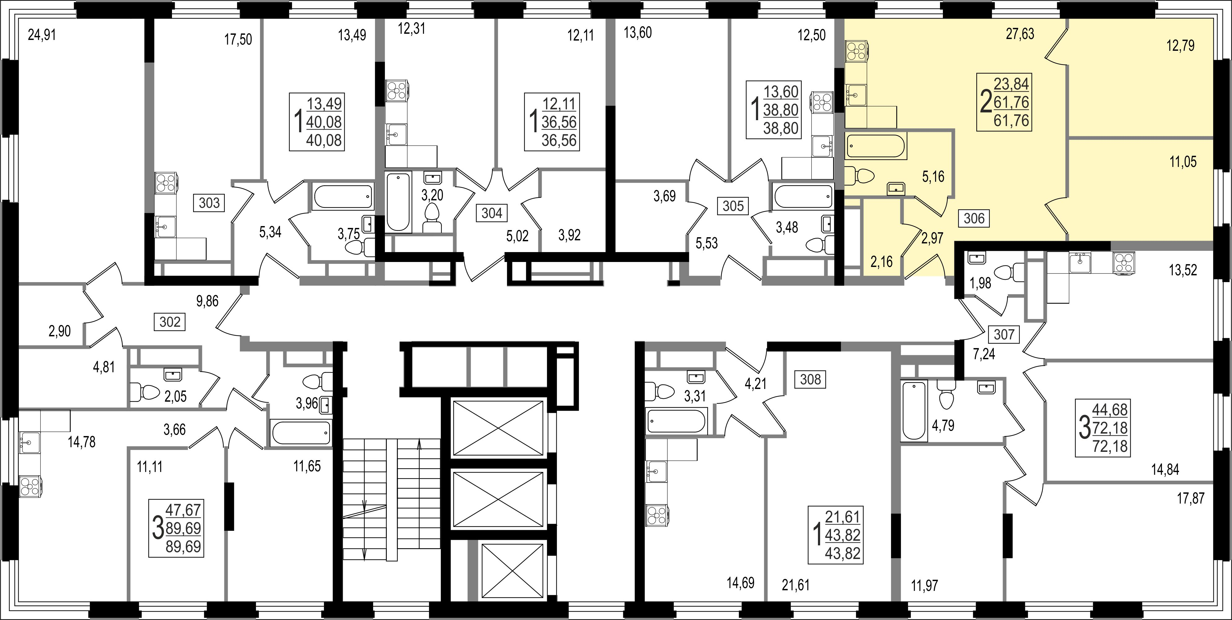 2-комнатная квартира, №132