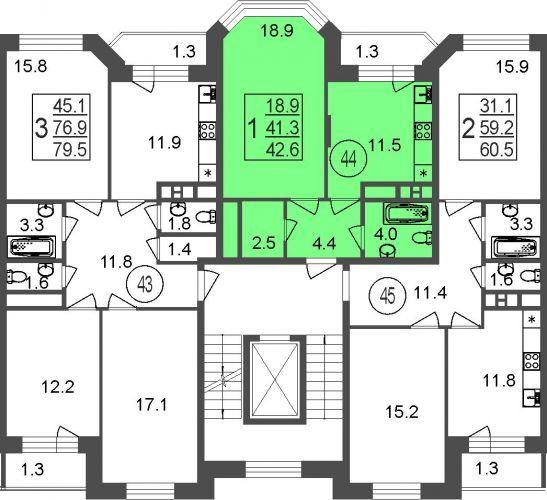 1-комнатная квартира, 42,6 м² за 4,25 млн руб.