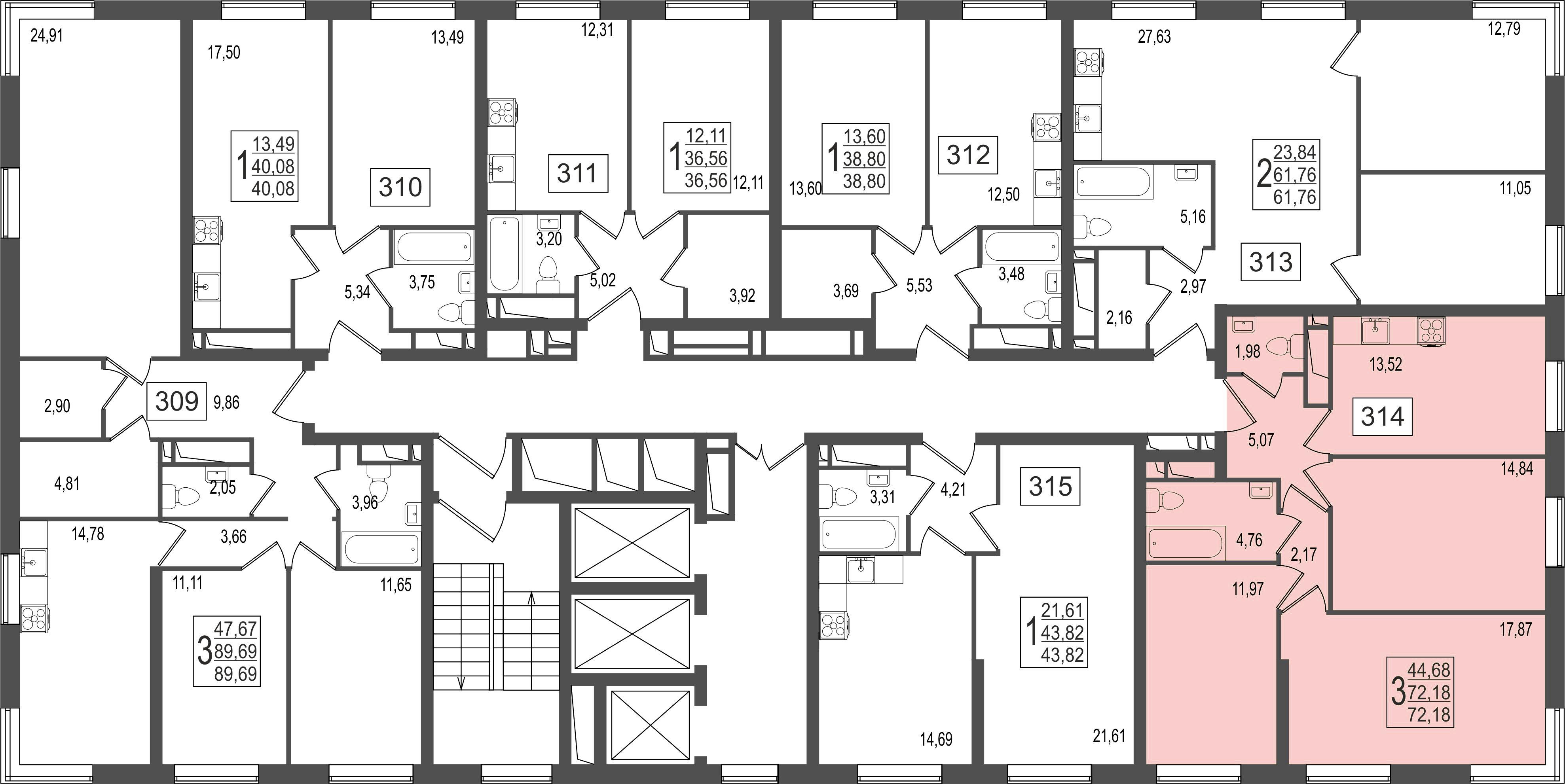 3-комнатная квартира, №140
