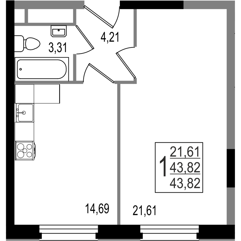 2-комнатная квартира, №120