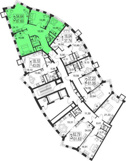 3-комнатная квартира № 62