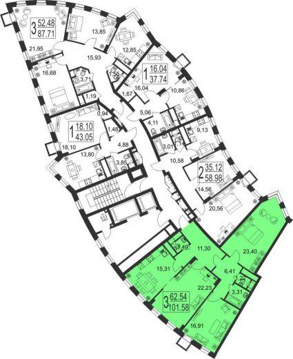 3-комнатная квартира № 15