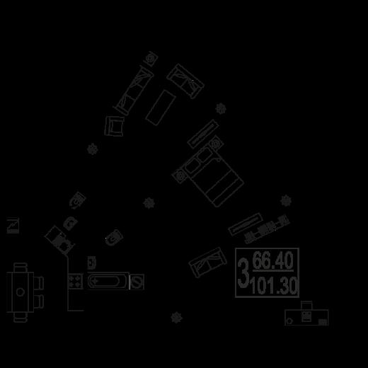 3-комнатная квартира № 187