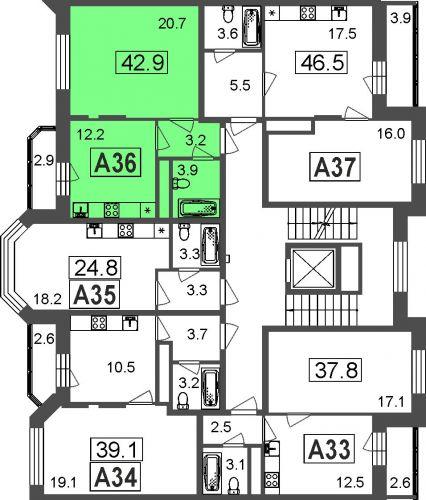 1-комнатные апартаменты, 40,0 м² за 3,05 млн руб.
