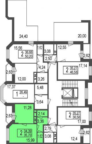 2-комнатные апартаменты, 33,9 м² за 2,68 млн руб.