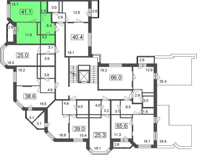 1-комнатные апартаменты, 38,5 м² за 3,04 млн руб.