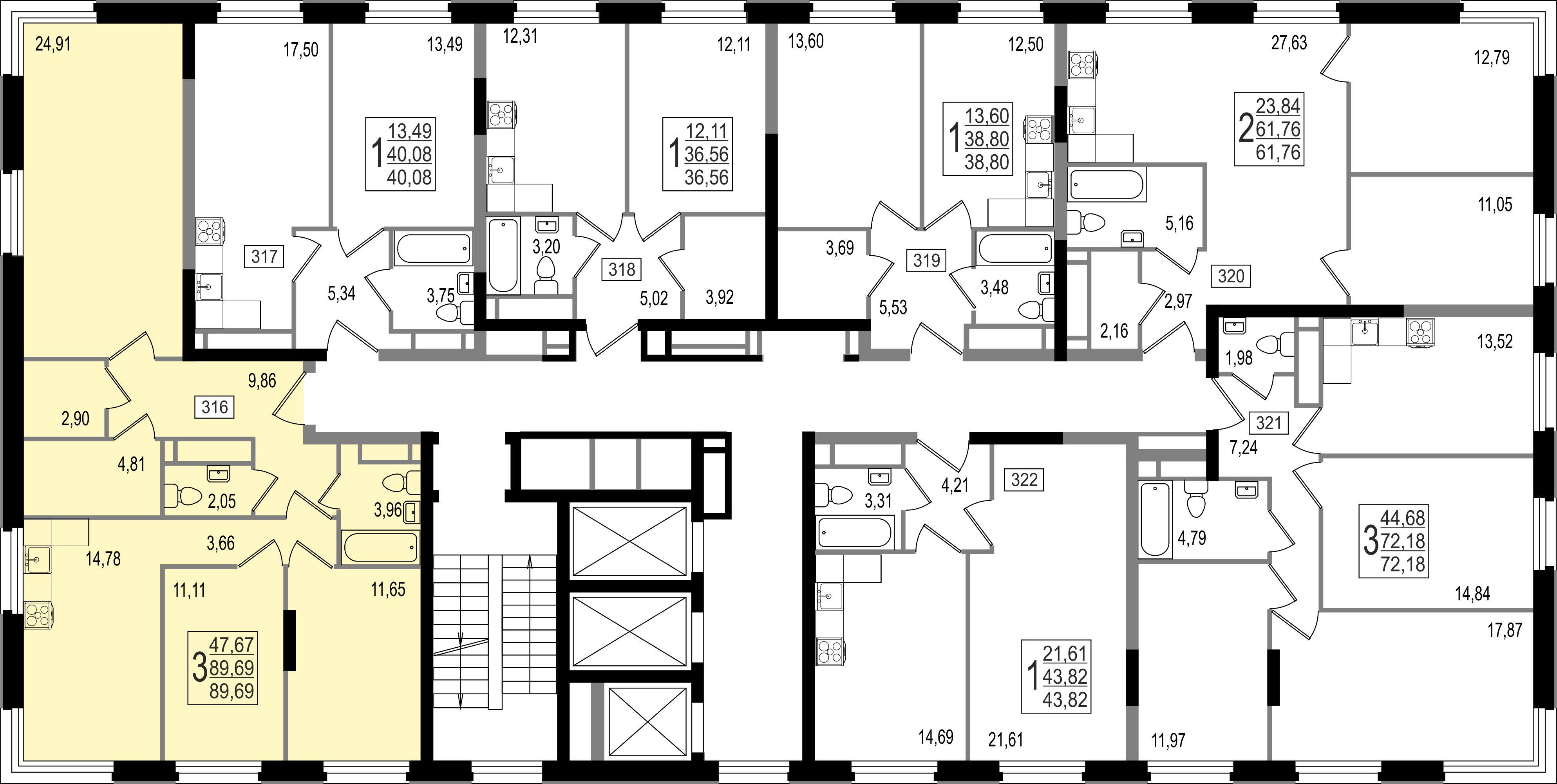 3-комнатная квартира, №142