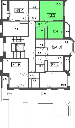 1-комнатные апартаменты, 40,4 м² за 3,19 млн руб.