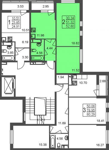 2-комнатная квартира, 52,8 м² за 3,76 млн руб.