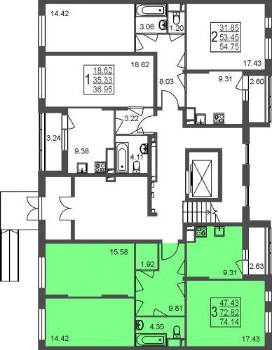 2-комнатная квартира, 54,8 м² за 4,16 млн руб. в Мкр. «Красногорский» - расположение в секции