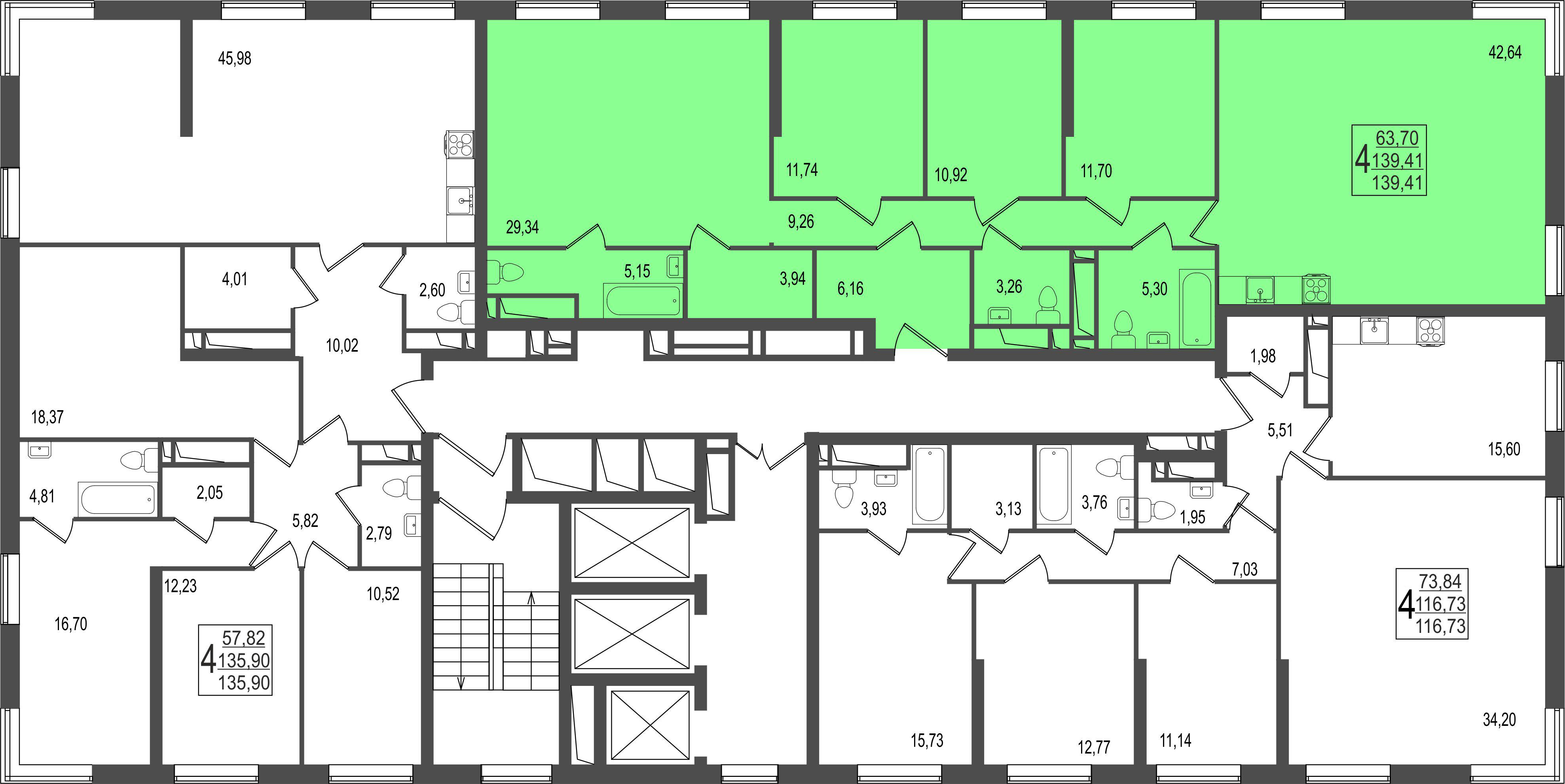 4-комнатная квартира, №156