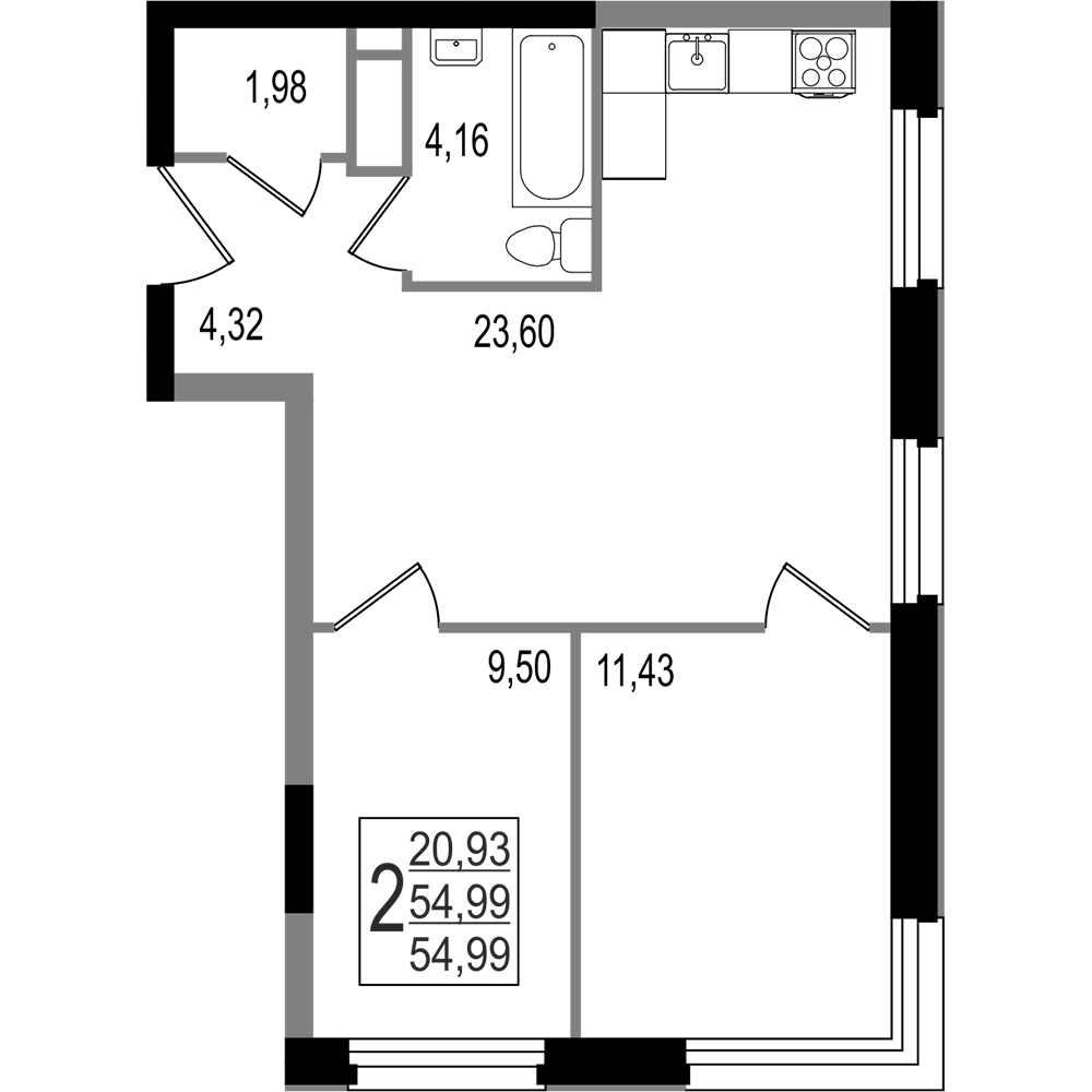2-комнатная квартира, №20