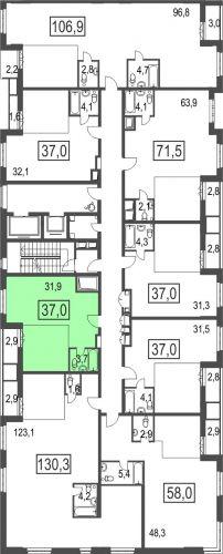 1-комнатная квартира, 37,0 м² за 4,26 млн руб. в ЖК «Сказочный лес» - расположение в секции